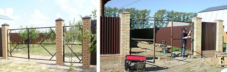 Металлический каркас для ворот с калиткой