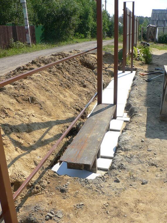 Подготовленный фундамент для ворот