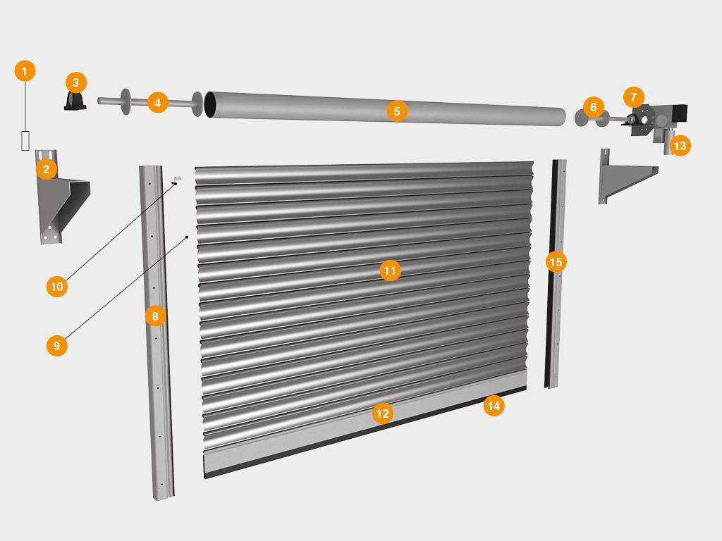Конструкция рулонных ворот с вальным электроприводом