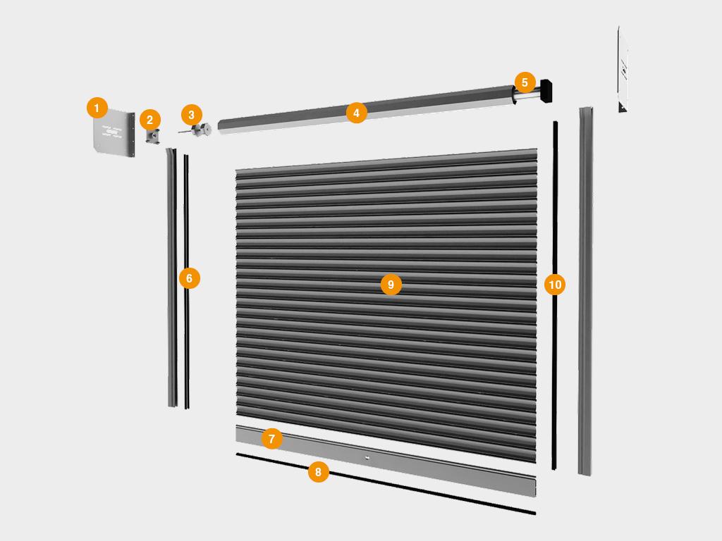 Конструкция рулонных ворот с внутривальным электроприводом