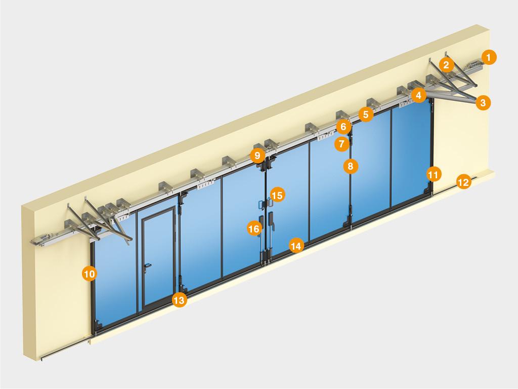 Конструкция складных ворот без нижней направляющей